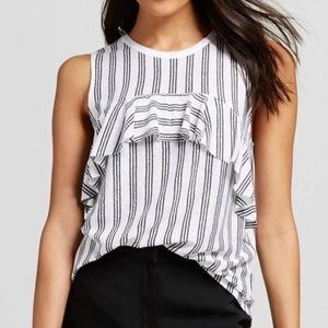 Who What Wear Ruffle Stripe Metallic Tank